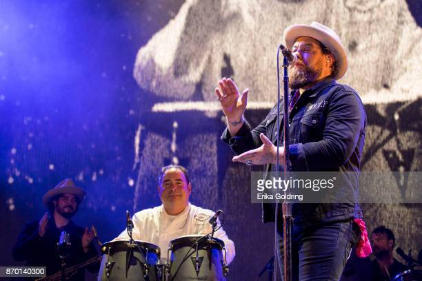 Jeff Dazey Chef Emeril Lagasse and Nathaniel Rateliff perform during 2017 Boudin Bourbon and Beer at Champions Square on November 3 2017 in New...