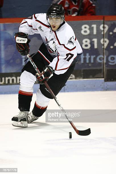 Jeff Desjardins of the Rouyn-Noranda Huskies skates with the puck during the game against the Drummondville Voltigeurs at the Centre Marcel Dionne on...