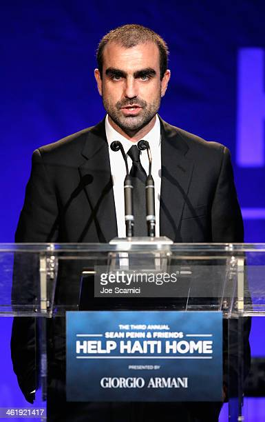 Jeff Dorsey speaks on stage at the 3rd annual Sean Penn Friends HELP HAITI HOME Gala benefiting J/P HRO presented by Giorgio Armani at Montage...