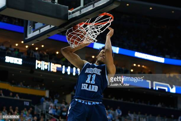 Jeff Dowtin of the Rhode Island Rams dunks the ball against the Duke Blue Devils during the first half in the second round of the 2018 NCAA Men's...