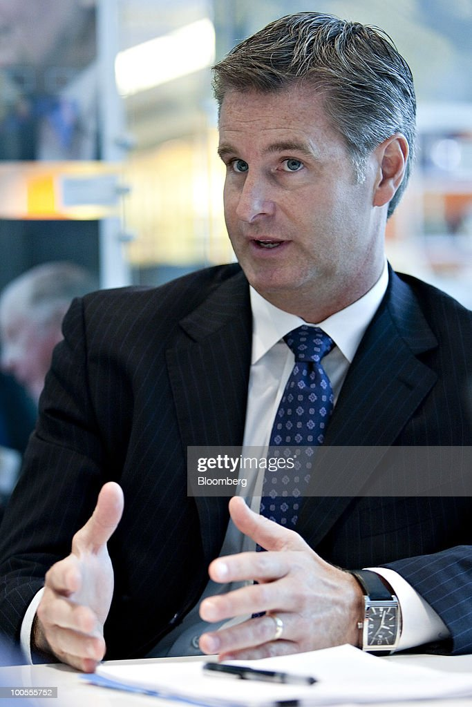 Jeff Drees, president of Schneider Electric's U.S. operations, speaks during an interview in New York, U.S., on Tuesday, May 25, 2010. Schneider Electric SA, the world's biggest maker of circuit breakers, will triple revenue for projects related to the U.S. stimulus this year as government funds become more accessible, an executive said. Photographer: Daniel Acker/Bloomberg via Getty Images