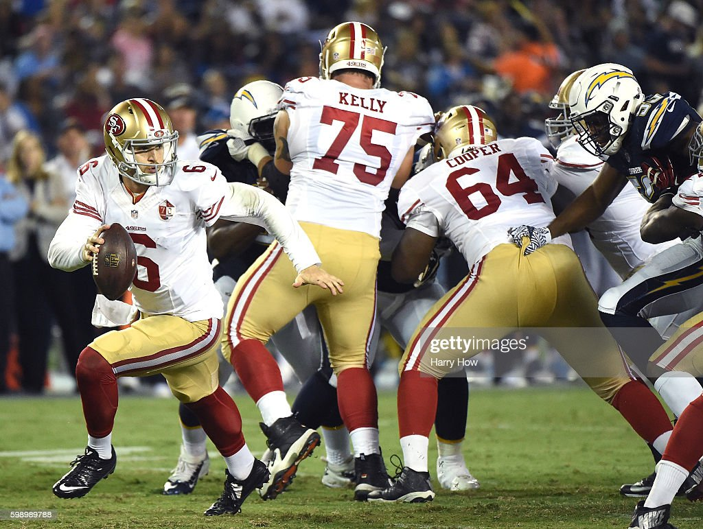 Jeff Driskel #6 of the San Francisco 49ers rolls out of the pocket during a preseason game against the San Diego Chargers at Qualcomm Stadium on September 1, 2016 in San Diego, California.