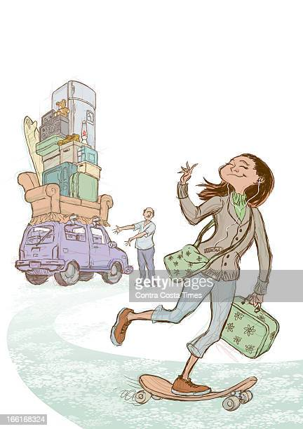 Jeff Durham illustration of a young woman off to college with nothing but a skateboard iPod purse and suitcase while her father is standing next to a...