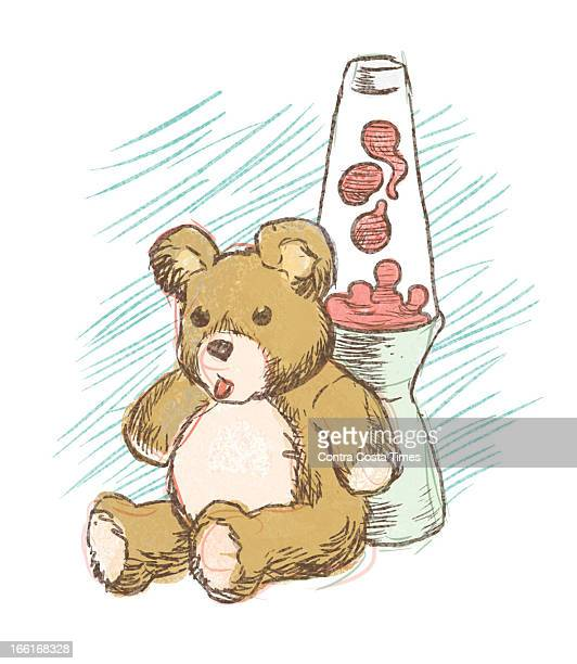 Jeff Durham illustration of teddy bear and lava lamp two items that might be taken to a college dormitory room