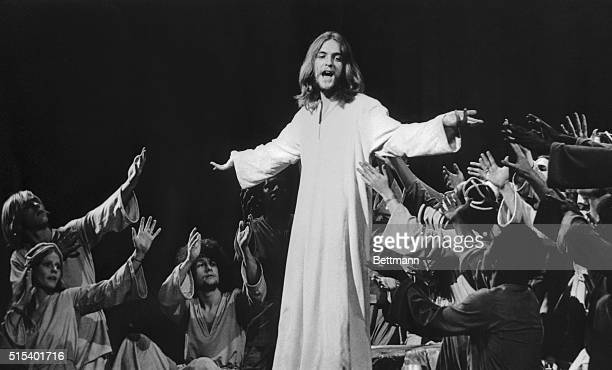 Jeff Fenholt in the title role of Jesus Christ Superstar, on Broadway is shown in this photograph.