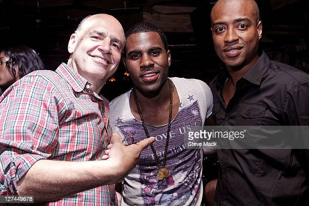 Jeff Fenster Jason Derulo and Frank Harris attend the Jason Derulo album release party at The Darby Restaurant on September 27 2011 in New York City