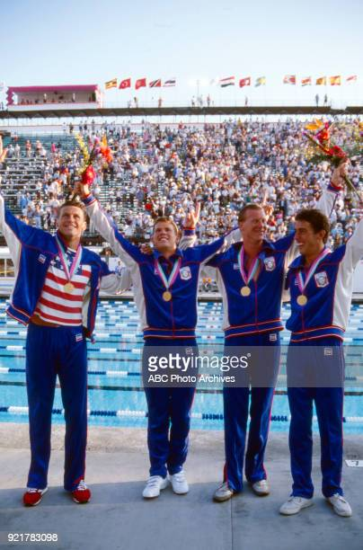 Jeff Float Mike Heath David Larson Bruce Hayes Men's swimming 4 × 200 metre freestyle relay medal ceremony McDonald's Olympic Swim Stadium at the...