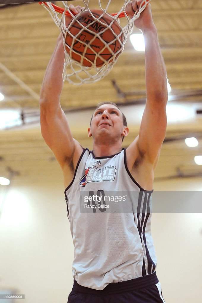 Jeff Foote #40 of the Springfield Armor dunks on day two of the 2014 NBA Development League Elite Mini Camp on May 13, 2014 at Quest Multisport in Chicago, Illinois.