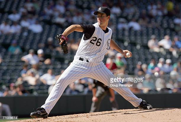 Jeff Francis of the Colorado Rockies delivers the pitch during the game against the Los Angeles Dodgers at Coors Field on September 18 2007 in Denver...