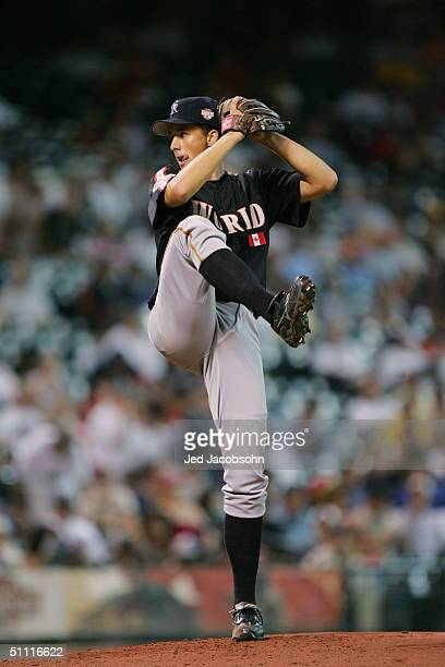 Jeff Francis of the World team pitches against the USA team during the Major League Baseball Futures Game at Minute Maid Park on July 11, 2004 in...
