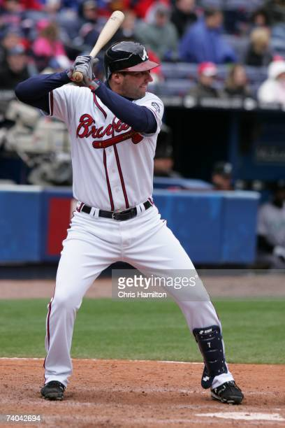 Jeff Francoeur of the Atlanta Braves bats during the game against the Florida Marlins at Turner Field in Atlanta Georgia on April 15 2007 The Braves...