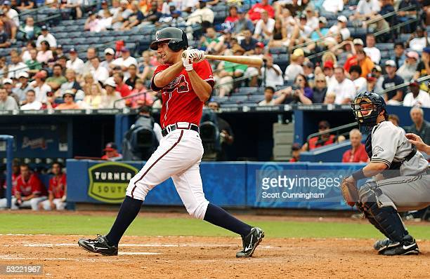 Jeff Francoeur of the Atlanta Braves hits against the Milwaukee Brewers at Turner Field on July 10 2005 in Atlanta Georgia The Brewers won the game 84