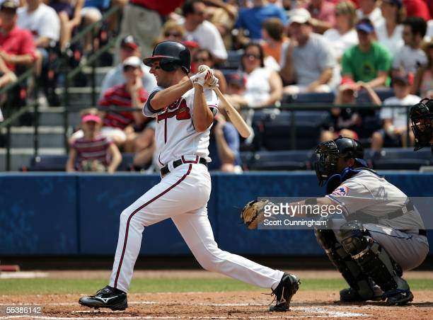 Jeff Francoeur of the Atlanta Braves hits against the New York Mets at Turner Field on September 5 2005 in Atlanta Georgia The Braves defeated the...