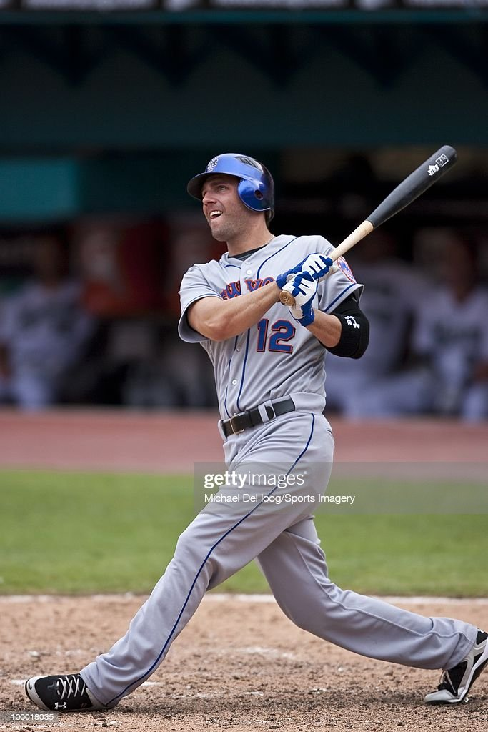 Jeff Francoeur #12 of the New York Mets bats during a MLB game against the Florida Marlins in Sun Life Stadium on May 16, 2010 in Miami, Florida.