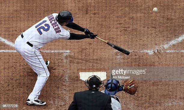 Jeff Francoeur of the New York Mets connects for a third inning RBI double against the Los Angeles Dodgers on April 28, 2010 at Citi Field in the...