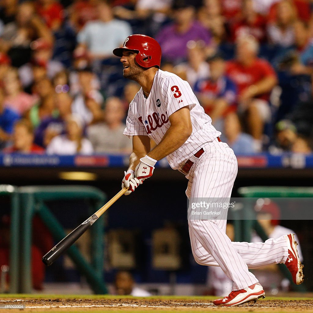 Jeff Francoeur #3 of the Philadelphia Phillies hits an RBI single in the eighth inning of the game against the New York Mets at Citizens Bank Park on August 26, 2015 in Philadelphia, Pennsylvania. The Mets won 9-4.