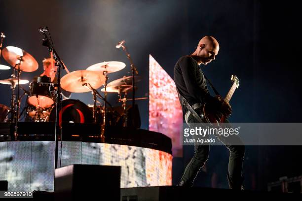Jeff Friedl and Billy Howerdel of the band A Perfect Circle perform on stage at the Download Festival on June 28 2018 in Madrid Spain