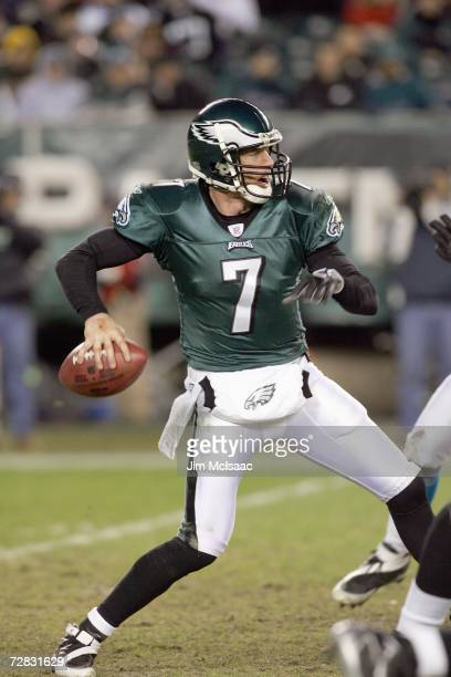 Jeff Garcia of the Philadelphia Eagles looks to pass the ball during the game against the Carolina Panthers at Lincoln Financial Field on December 4...