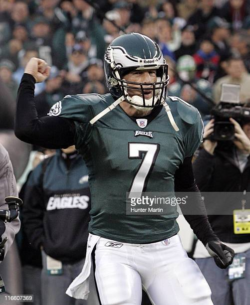 Jeff Garcia runs onto the field at the start of the game between the Atlanta Falcons and the Philadelphia Eagles at Lincoln Financial Field in...