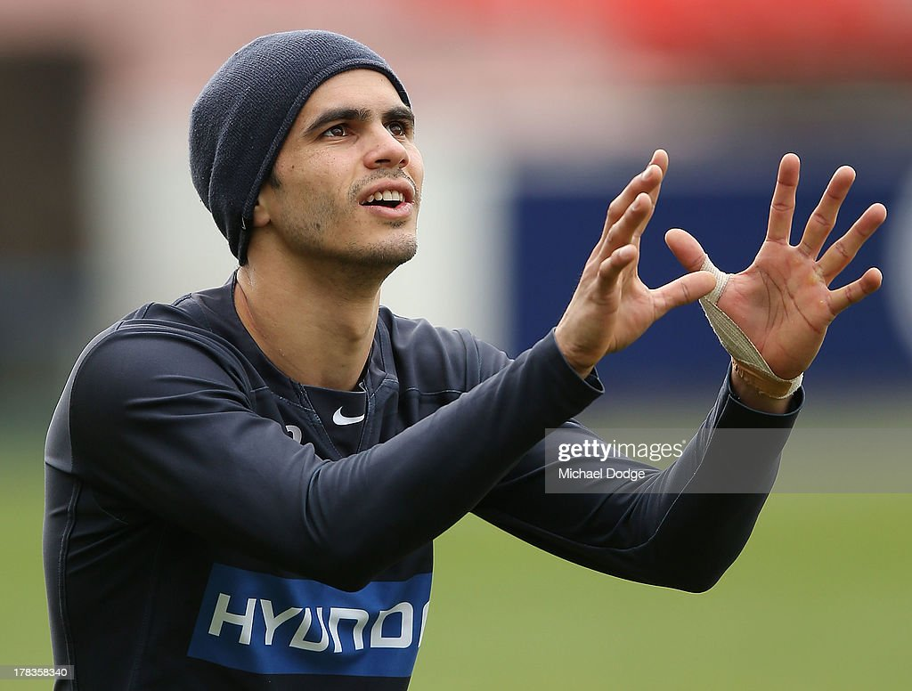 Jeff Garlett looks ahead during a Carlton Blues AFL training session at Visy Park on August 30, 2013 in Melbourne, Australia.