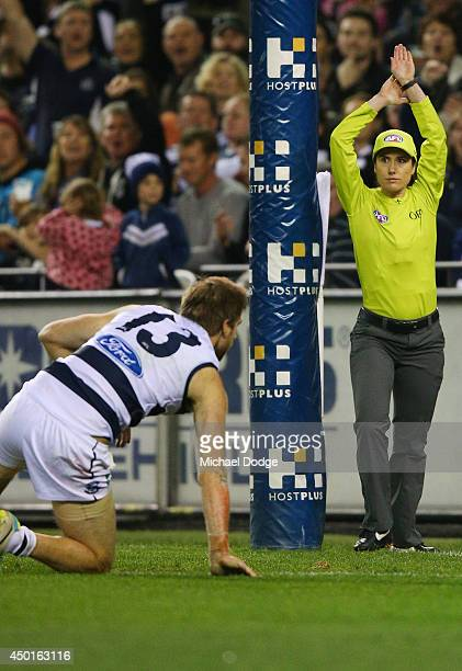 Jeff Garlett of the Blues kicked the ball for goal past Tom Lonergan of the Cats that was given as a point by the goal umpire during the round 12 AFL...