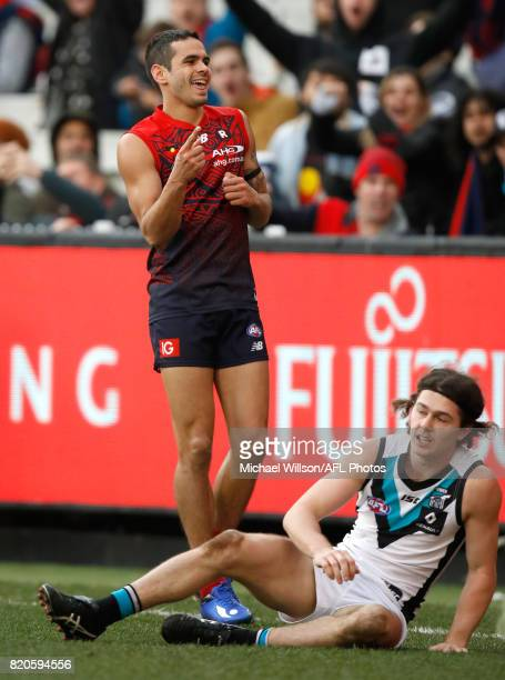Jeff Garlett of the Demons celebrates during the 2017 AFL round 18 match between the Melbourne Demons and the Port Adelaide Power at the Melbourne...