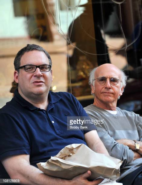 """Jeff Garlin and Larry David on location for """"Curb Your Enthusiasm"""" on the streets of Manhattan on July 27, 2010 in New York City."""