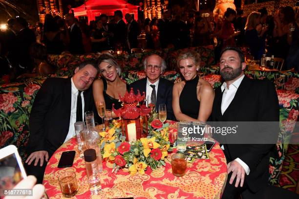 Jeff Garlin Charissa Thompson Larry David Lindsay Shookus and Ben Affleck attend the HBO's Official 2017 Emmy After Party at The Plaza at the Pacific...