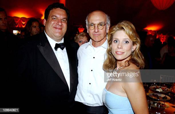 Jeff Garlin, Larry David & Cheryl Hines during The 54th Annual Primetime Emmy Awards - HBO Post Party at Spago's in Los Angeles, California, United...