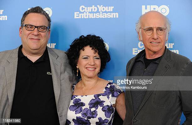"""Jeff Garlin, Susie Essman and Larry David attend the """"Curb Your Enthusiasm"""" Season 8 premiere at the Time Warner Screening Room on July 6, 2011 in..."""