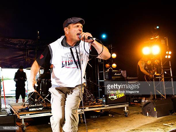 Jeff Geggus of English punk rock group Cockney Rejects performing live on stage at Download Festival on June 8 2012