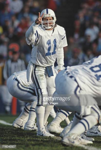 Jeff George Quarterback for the Indianapolis Colts calls the play on the line of scrimmage during the National Football League AFC East Division game...