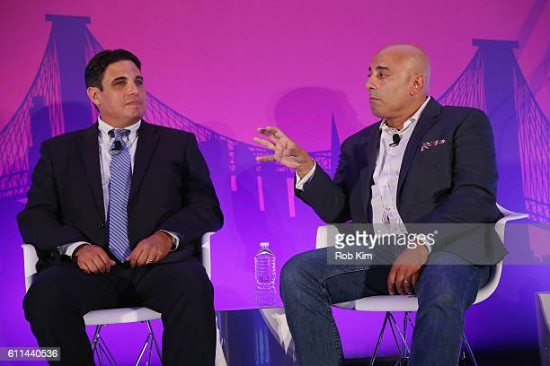 Jeff Giacchetti and Ron Amram speak onstage at the Getting Native Video Right A Brand Playbook panel on the ADARA Stage at Times Center Hall during...