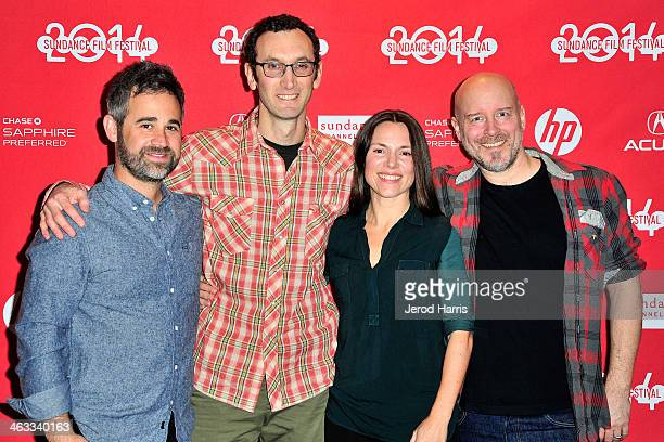 Jeff Gilbert director Jesse Moss Amanda McBaine and Todd Griffin attend 'The Overnighters' Premiere 2014 Sundance Film Festival at Temple Theater on...