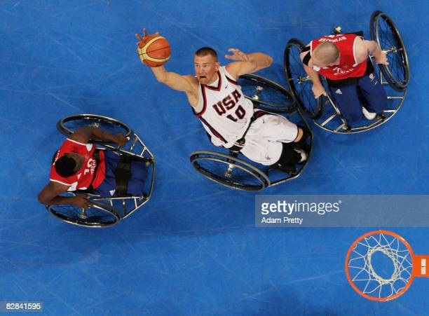 Jeff Glasbrenner of the United States rebounds during the Bronze Medal Wheelchair Basketball match between the United States and Great Britain at the...