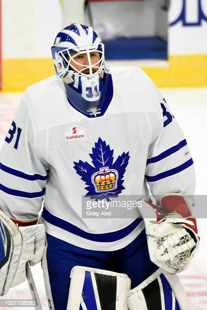 Jeff Glass of the Toronto Marlies skates in warmup prior to a game against the Hartford Wolf Pack during AHL game action on October 20, 2018 at...