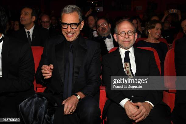 Jeff Goldblum and Bob Balaban are seen in the audiance during the Opening Ceremony 'Isle of Dogs' premiere during the 68th Berlinale International...