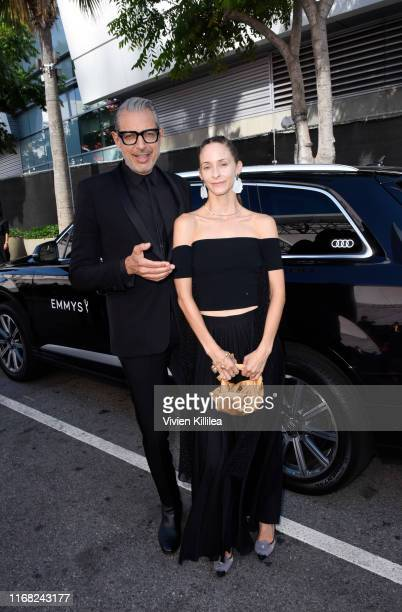 Jeff Goldblum and Emilie Livingston arrive at Audi Celebrates the 71st Creative Arts Emmy Awards at the Microsoft Theater on September 14, 2019 in...