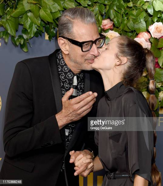 Jeff Goldblum and Emilie Livingston arrive at the Walt Disney Television Emmy Party on September 22, 2019 in Los Angeles, California.