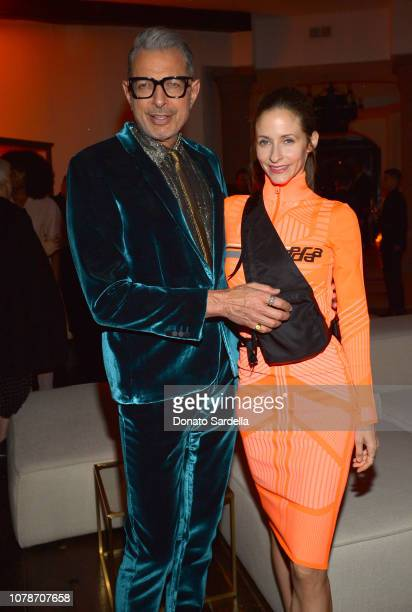 Jeff Goldblum and Emilie Livingston attend a private dinner hosted by GQ and Dior in celebration of the 2018 GQ Men Of The Year Party on December 06...