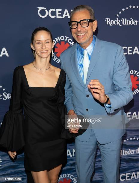 Jeff Goldblum and Emilie Livingston attend Rock Under The Stars With The Red Hot Chili Peppers presented by Oceana on October 12, 2019 in Los...