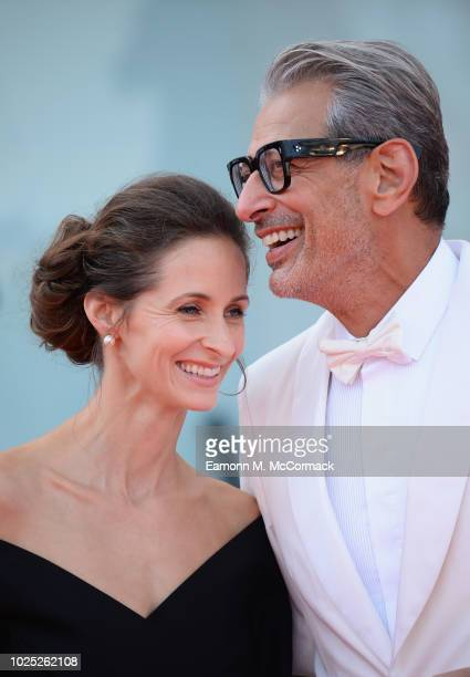 Jeff Goldblum and Emilie Livingston walk the red carpet ahead of the 'The Mountain' screening during the 75th Venice Film Festival at Sala Grande on...