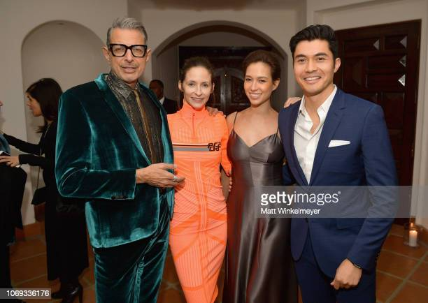 Jeff Goldblum Emilie Livingston Liv Lo and Henry Golding attend the 2018 GQ Men of the Year Party at a private residence on December 6 2018 in...