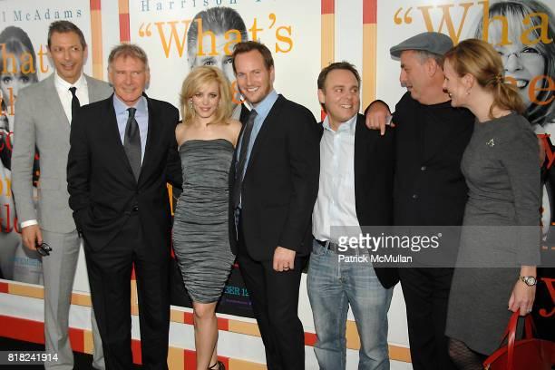 Jeff Goldblum Harrison Ford Rachel McAdams Patrick Wilson Bryan Burk Roger Michell and Sherryl Clark attend WORLD PREMIERE of MORNING GLORY at...