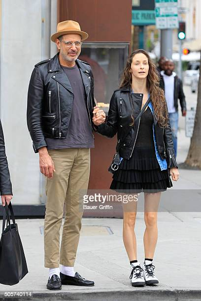 Jeff Goldblum is seen with his wife Emilie Livingston on January 19, 2016 in Los Angeles, California.