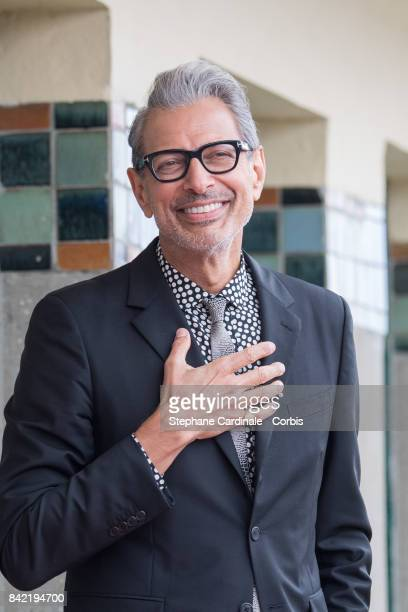 Jeff Goldblum poses in front of his dedicated beach locker room on the Promenade des Planches during the 43rd Deauville American Film Festival on...