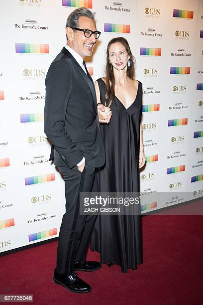 Jeff Goldblum poses on the red carpet with his wife Emilie Livingston before the 39th Annual Kennedy Center Honors December 4 2019 in Washington DC /...