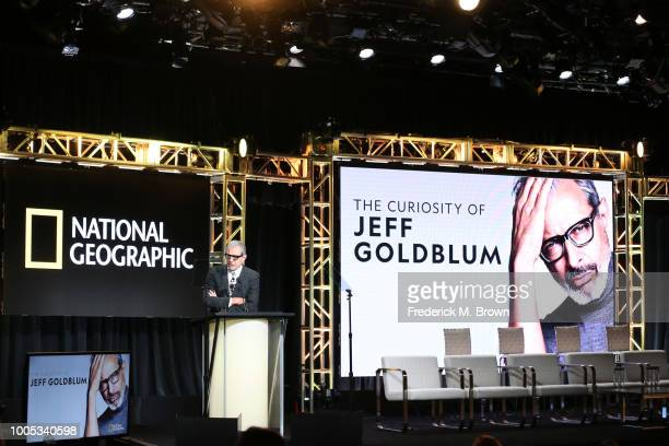Jeff Goldblum speaks onstage during the National Geographic portion of the Summer 2018 TCA Press Tour at The Beverly Hilton Hotelon July 25 2018 in...