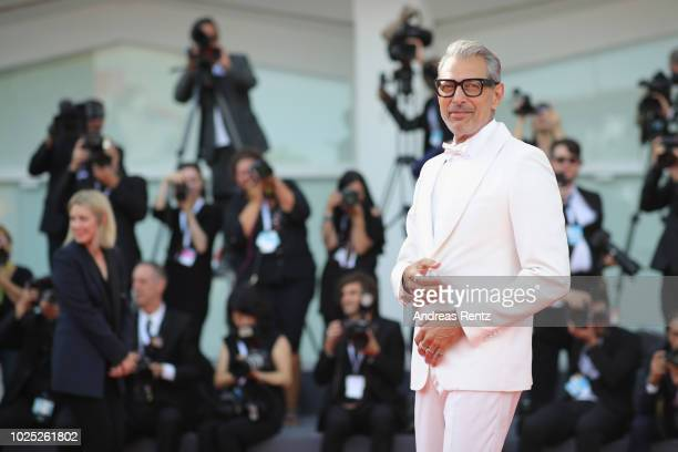 Jeff Goldblum walks the red carpet ahead of the 'The Mountain' screening during the 75th Venice Film Festival at Sala Grande on August 30, 2018 in...