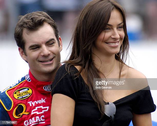Jeff Gordon and his girlfriend actress/model Ingrid Vandebosch before the start of the New England 300 NASCAR NEXTEL Cup Series race at New Hampshire...